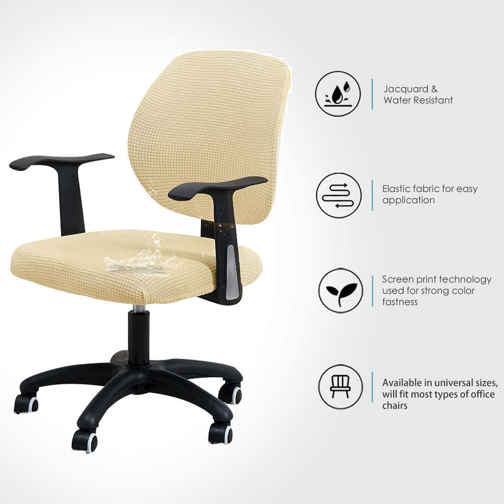 FORCHEER Office Chair Cover 2 PCS Set Water Resistant Beige Stretch Jacquard Computer Chair Slipcover for Armrest Game Chairs