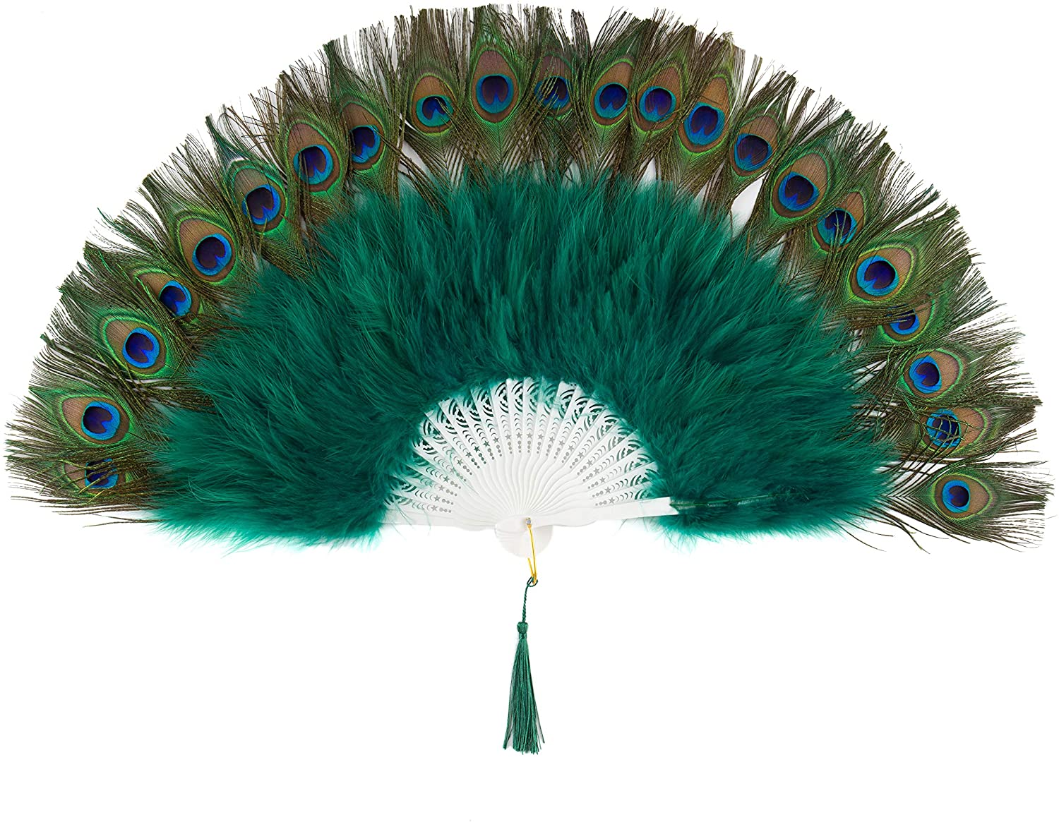 BABEYOND Roaring 20s Vintage Style Peacock & Black Marabou Feather Fan Flapper Accessories for Costume Halloween Dancing Party Tea Party Variety Show (Dark Green-White Rib)