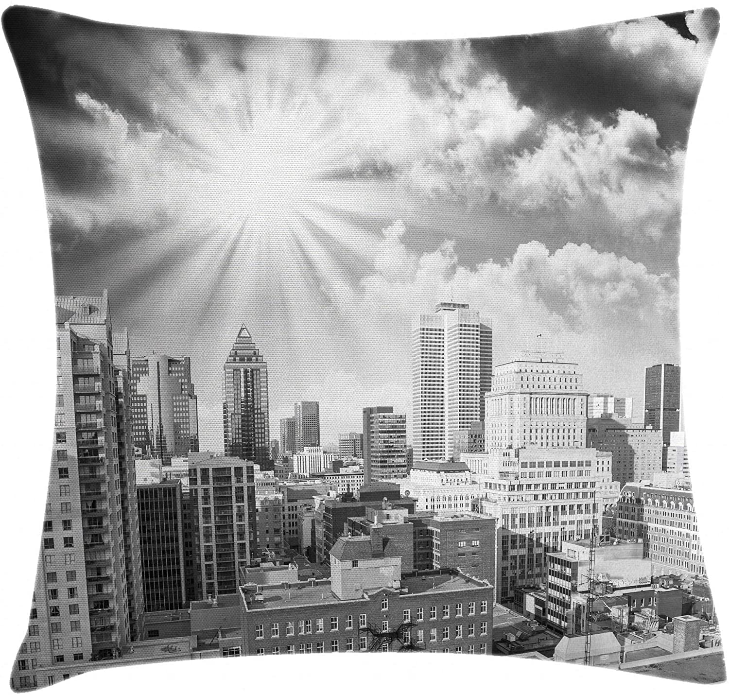 Ambesonne Black and White Throw Pillow Cushion Cover, Aerial View Montreal Canada Cityscape with Skyscrapers Architecture, Decorative Square Accent Pillow Case, 18