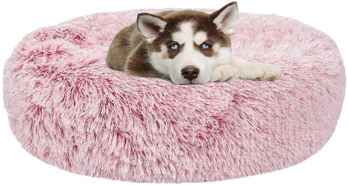 Donut Cat Dog Bed, Faux Fur Marshmellow Dog Cat Bed, Self Warming Cuddler Washable Round Pet Bed for Cats and Small Dogs