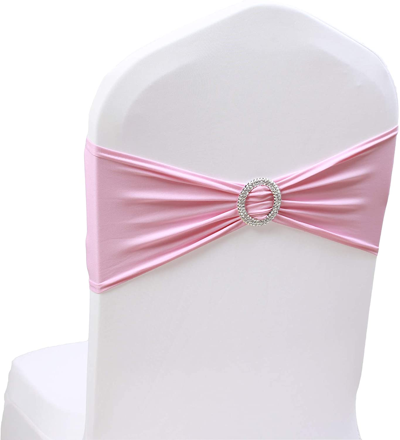 SheYang 100PCS Pink Stretch Chair Sashes Bows Elastic Chair Bands with Buckle Slider Sashes Bows for Wedding Hotel Banquet Birthday Party Decorations (100PCS, Pink)