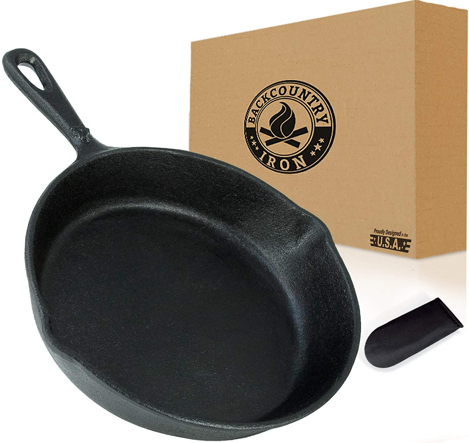 Backcountry Cast Iron Skillet(6 Inch Small Frying Pan + Cloth Handle Mitt, Pre-Seasoned for Non-Stick Like Surface, Cookware Oven / Broiler / Grill Safe, Kitchen Deep Fryer, Restaurant Chef Quality)