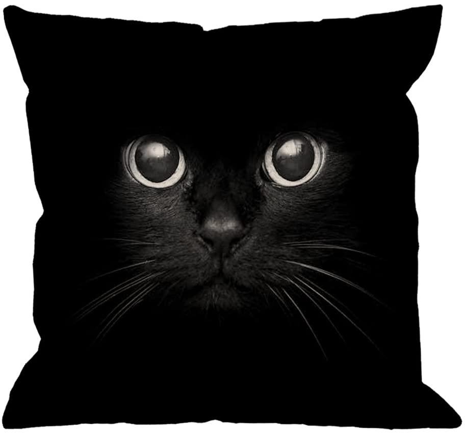 HGOD DESIGNS Cat Pillow Case,Cute Black Cat Face with Black Eye Cotton Linen Square Cushion Cover Pillowcase for Men Women Home Decorative Sofa Armchair Bedroom Livingroom 18 x 18 inch