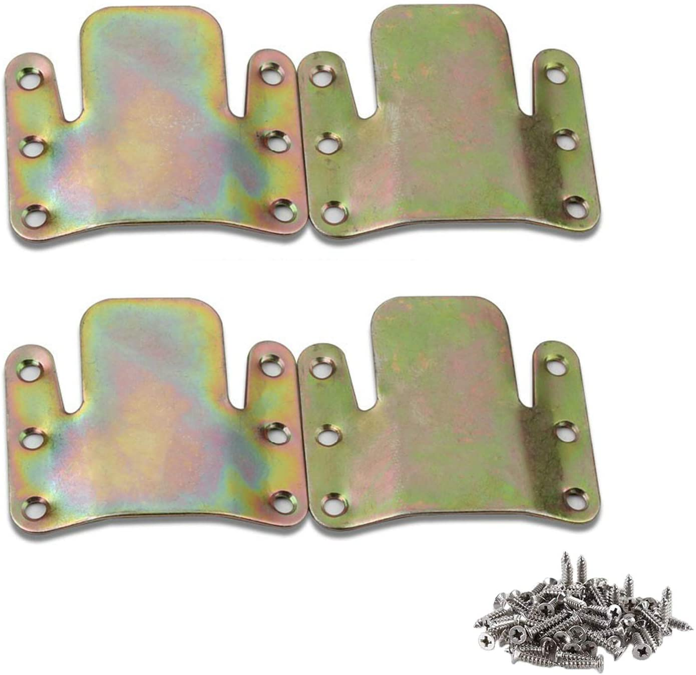 Gizhome 4 Pack/2 Pairs Universal Sectional Connector Brackets, Non Sliding Sofa Fastener for Sectionals Pieces, ColorZinc-Plated