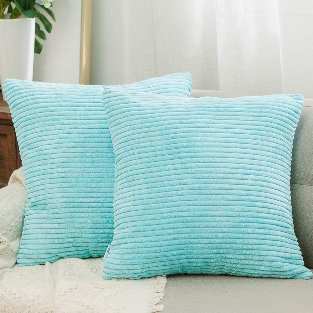 NATUS WEAVER 2 Pieces Striped Corduroy Plush Texture Velvet Euro Throw Pillow Sham Cushion Cover for Chair, 24 x 24 inch (60 cm), Turquoise