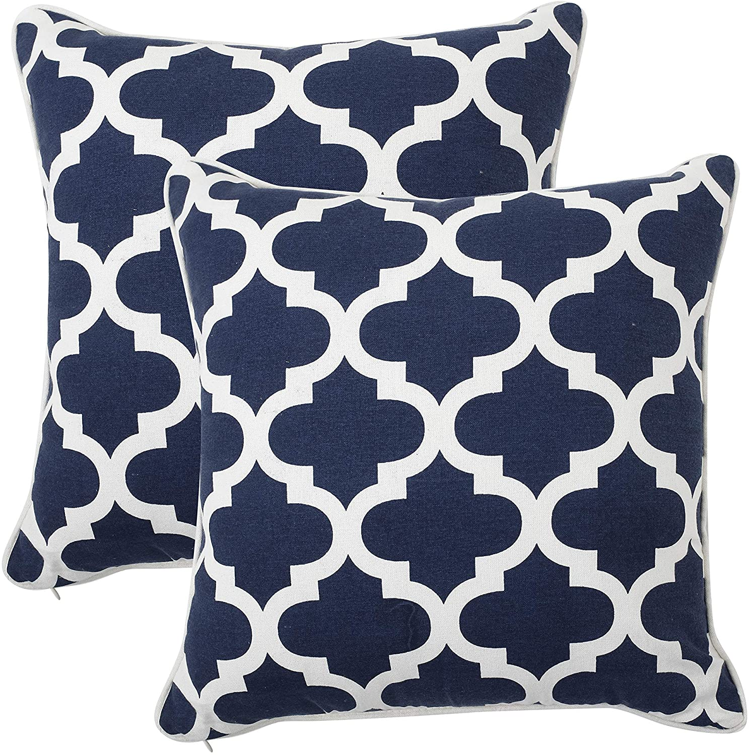 REDEARTH Printed Throw Pillow Cushion Covers-Woven Decorative Farmhouse Cases Set for Couch, Sofa, Bed, Chair, Dining, Patio, Outdoor, car; 100% Cotton (18x18; Navy) Pack of 2