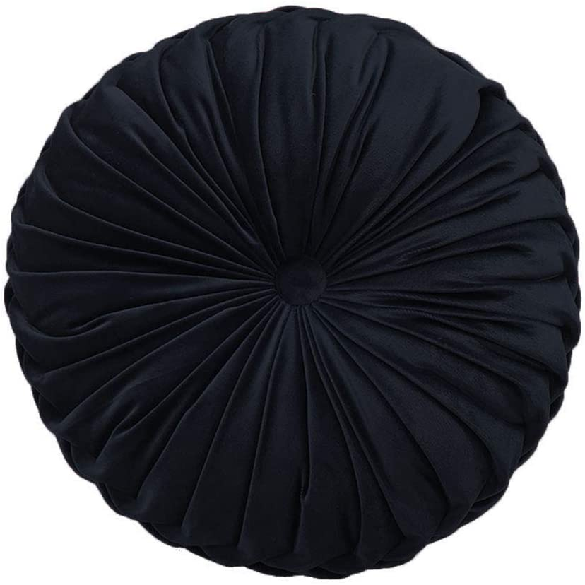 Elero Round Throw Pillow Velvet Home Decoration Pleated Round Pillow Cushion for Couch Chair Bed Car Black