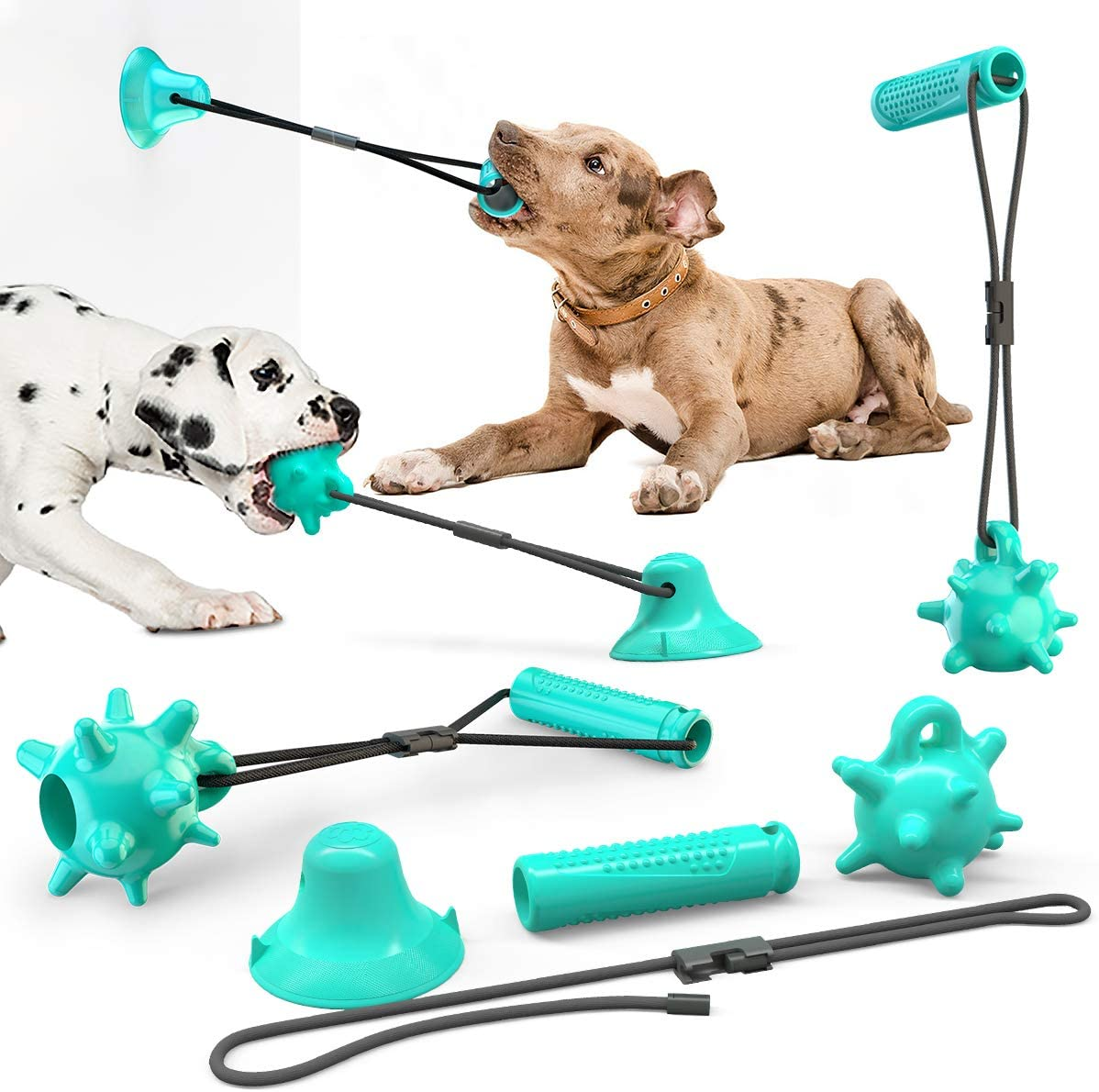 USWT Dog Rope Ball Stick with Suction Cup, Dog Toy Set, Four-Piece Dog Rope Toy Set Puppy Chew Tug Toys
