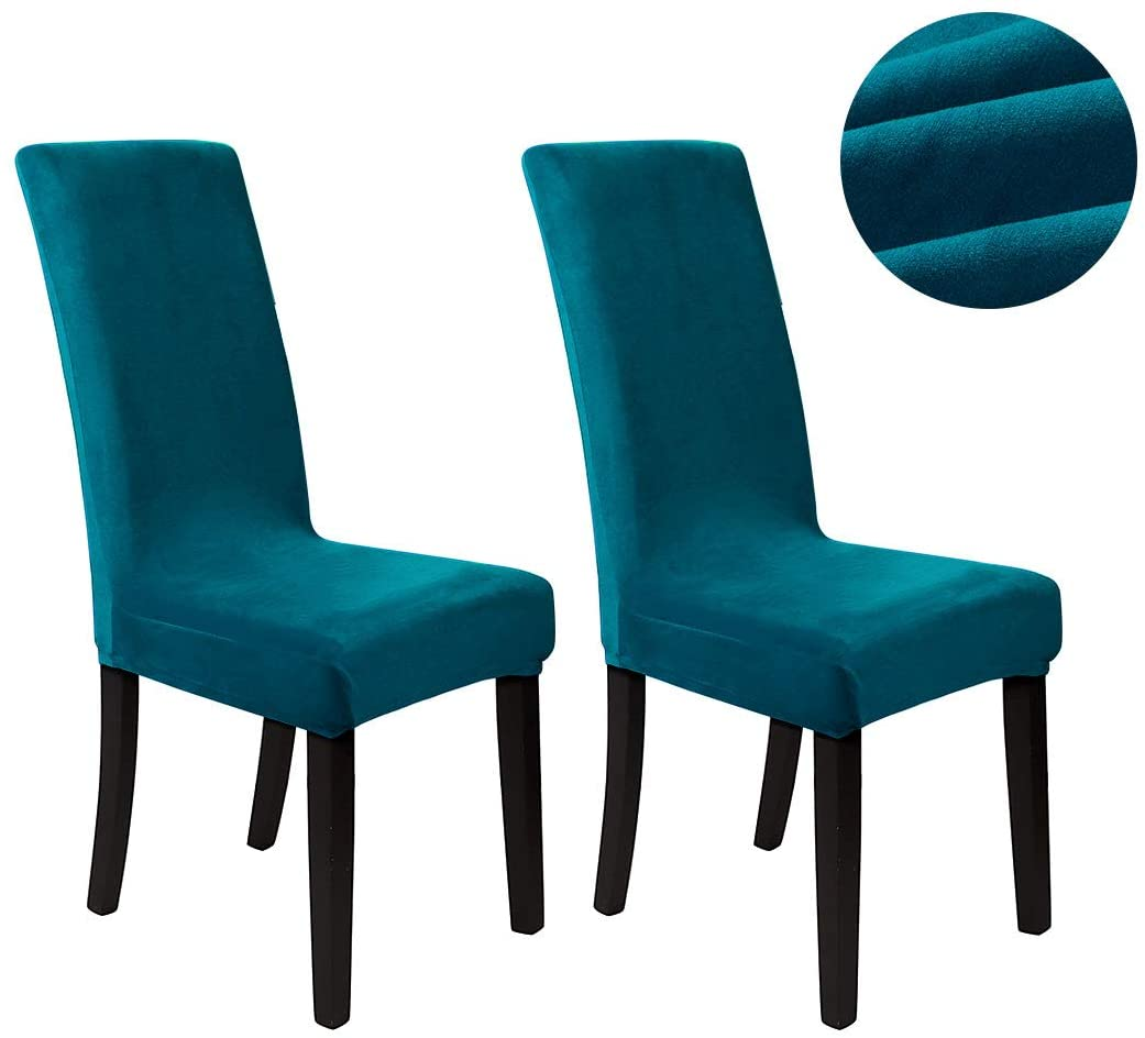 PiccoCasa Velvet Spandex Fabric Stretch Dining Room Chair Slipcovers Super Fit Chair Protector Home Decor Set of 2 Washable, Peacock Blue Medium