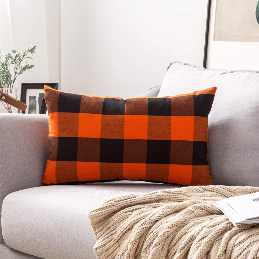 MIULEE Buffalo Check Retro Checker Plaids Accent Fall Throw Pillow Cover Cotton Linen Cushion Case for Sofa Couch Orange and Black 12 x 20 Inch 30 x 50 cm