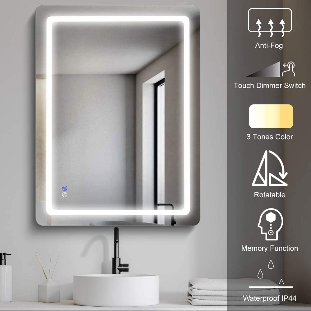 MAISTECH Bathroom Mirror with Lights Vanity Mirror Light Bath LED Wall Mounted Mirror Dimmable Smart Touch Switch IP44 Anti-Fog Vertical/Horizontal