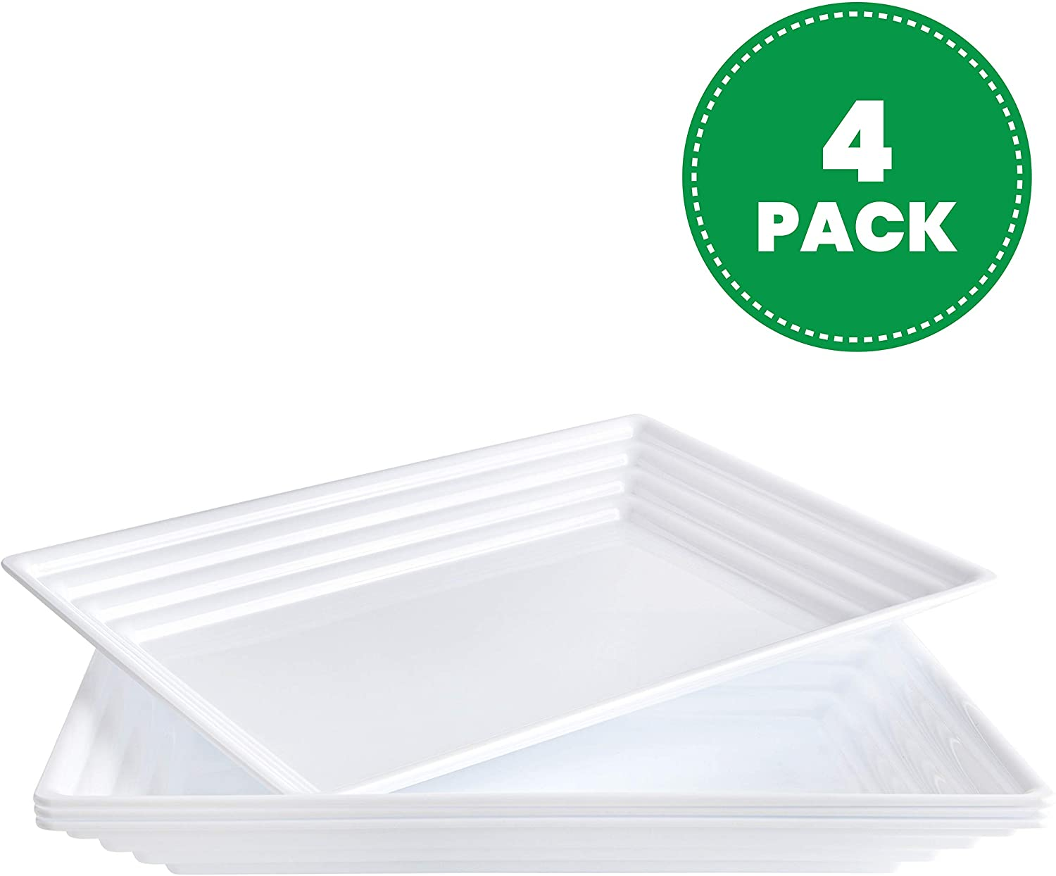 Plasticpro Plastic Serving Trays - Serving Platters Rectangle 9X13 Disposable Party Dish White, Elegant Leveled Border, Pack of 4