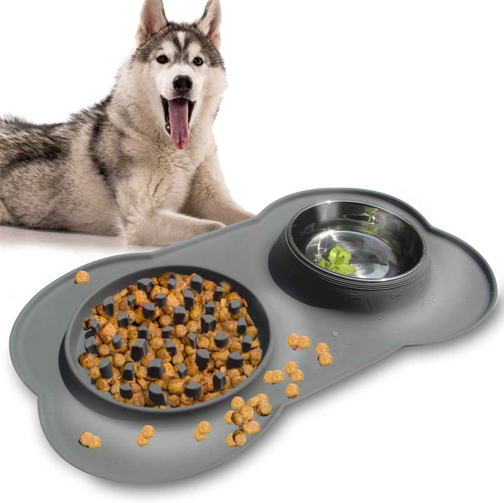 YAMI Double Dog Bowls, 2 in 1 Pet Slow Feeder and Stainless Steel Water Bowl with Non-Spill Silicone Tray Bone Shape Non-Slip Mat, Collapsible Removable Dog Cat Food Water Bowl