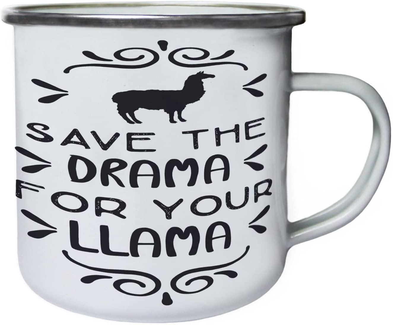 Save The Drama For Your Llama Retro,Tin, Enamel 10oz Mug n821e