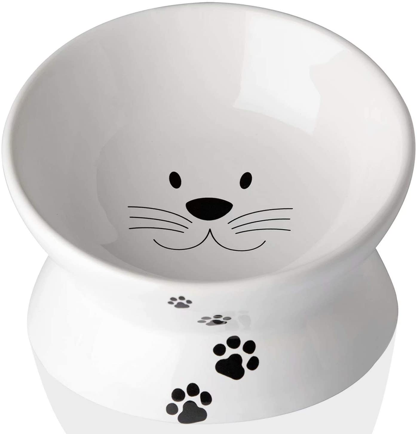 Cat Food Bowls, Elevated Cat Bowls for Cats and Small Dogs, Tilted Pet Feeder Bowl with Raised Stand Protect Cats Spine, Ceramic Cat Water Bowl No-Spill, Stress Free Cat Dish Dishwasher Safe