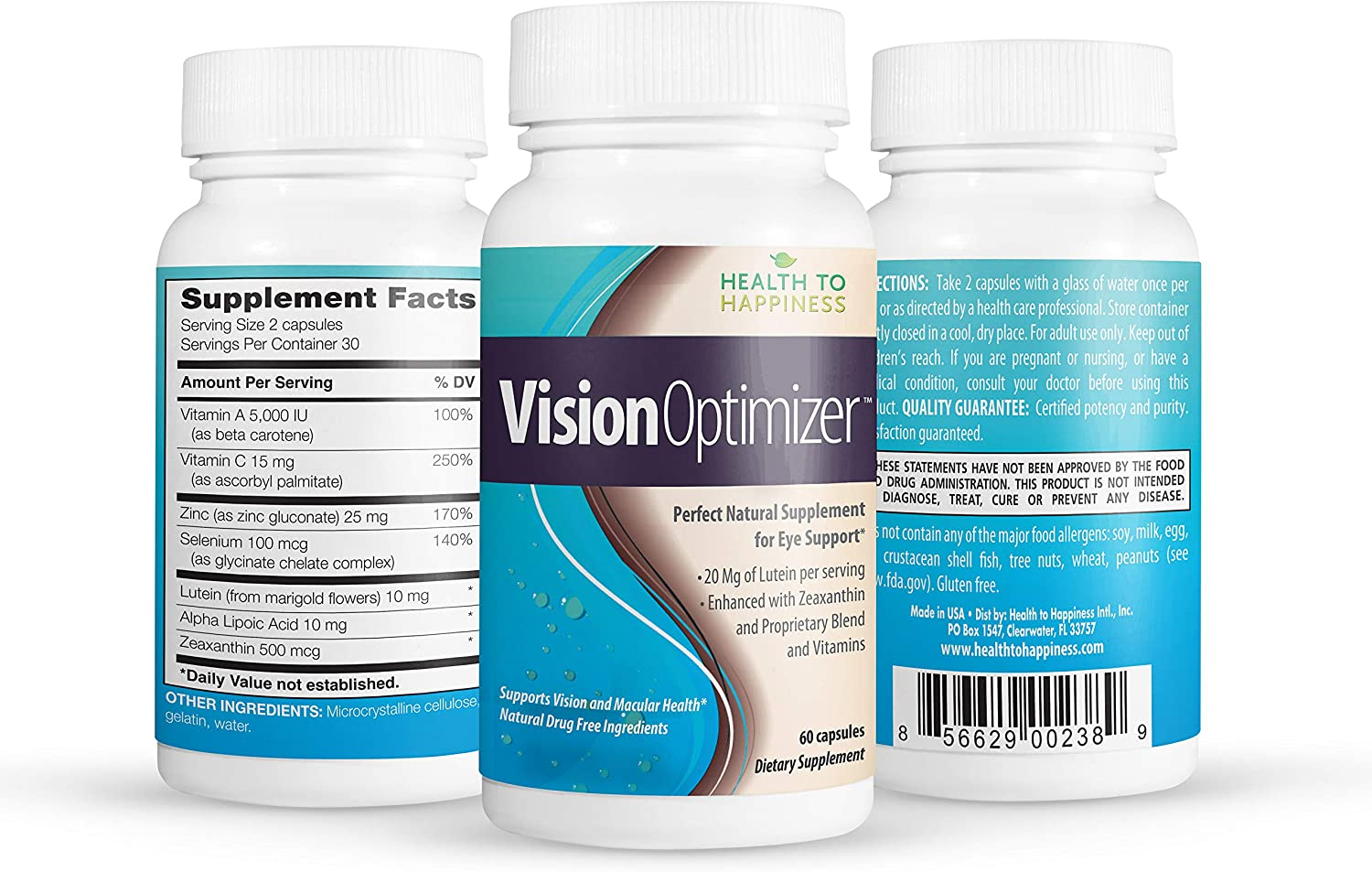 Health to Happiness Vision Optimizer, Great Eye Health Supplement | Supports Vision and Macular Health with Lutein, Zeaxanthin, Selenium, Zinc and Vitamins A and C | 60 Caps, Gluten Free, Made in USA