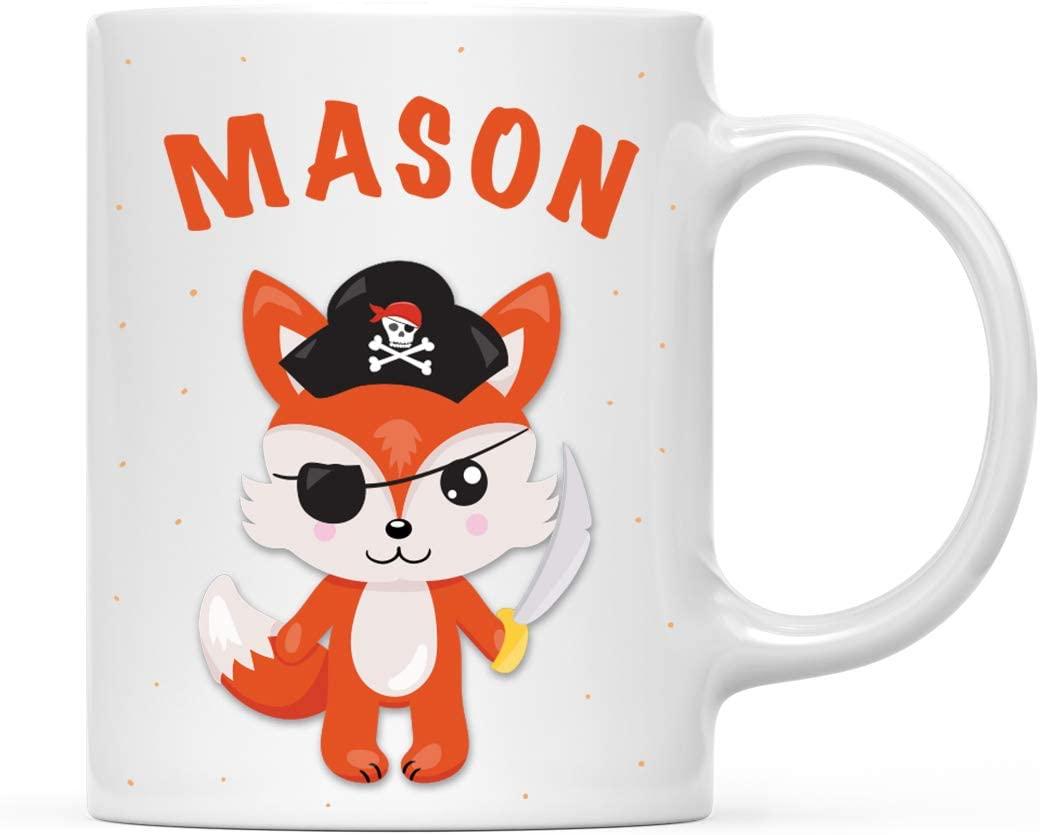 Andaz Press Personalized 11oz. Kids Milk Hot Chocolate Mug, Fox with Pirate Black Hat, 1-Pack, Custom Child's Birthday Christmas Coffee Cup