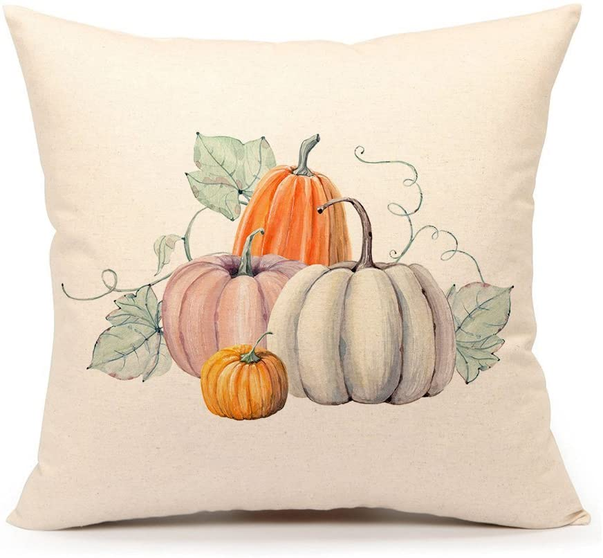 SPXUBZ Pumpkin Halloween Autumn Fall Thanksgiving Pillow Cover Decorative Home Decor Nice Gift Square Indoor/Outdoor Pillowcase Size: 20x20 Inch(Two Sides)