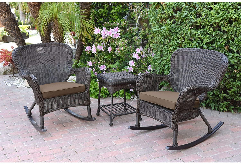 3-Piece Espresso Brown Outdoor Furniture Patio Conversation Set - Brown Cushions