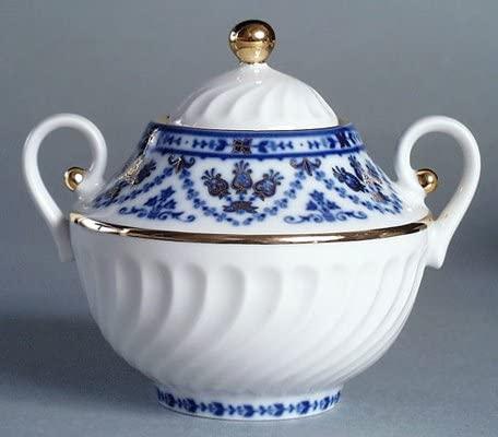 Lomonosov Russian Porcelain Cobalt Frieze Sugar Bowl 4 1/2 Inch