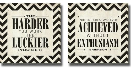 Artistic Home Gallery Harder & Achieved by SD Graphics 2-pc Stretched Canvas Motivational Set (Ready to Hang)