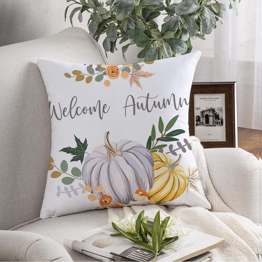 Staroorl Decorative Throw Pillow Cover Soft Yellow Graphic Pumpkin Welcome Autumn Orange Harvest Nature Celebration Drawing Fall Floral Food Cushion Cover for Couch Bedroom Car 18x18 Inch