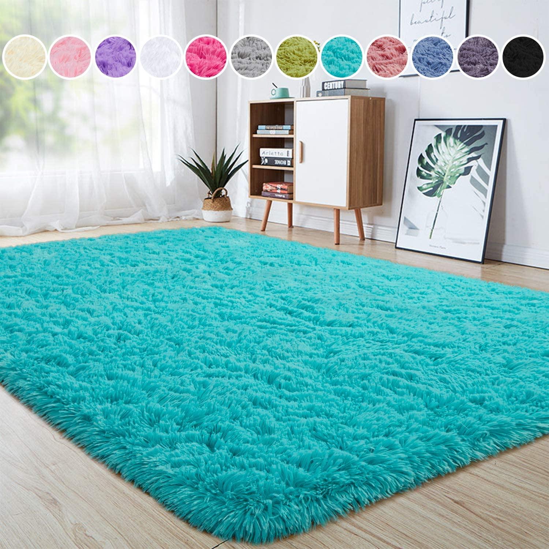 junovo Ultra Soft Area Rugs 5.3 x 7.5ft Fluffy Carpets for Bedroom Kids Girls Boys Baby Living Room Shaggy Floor Nursery Rug Home Decor Mats, Turquoise Blue