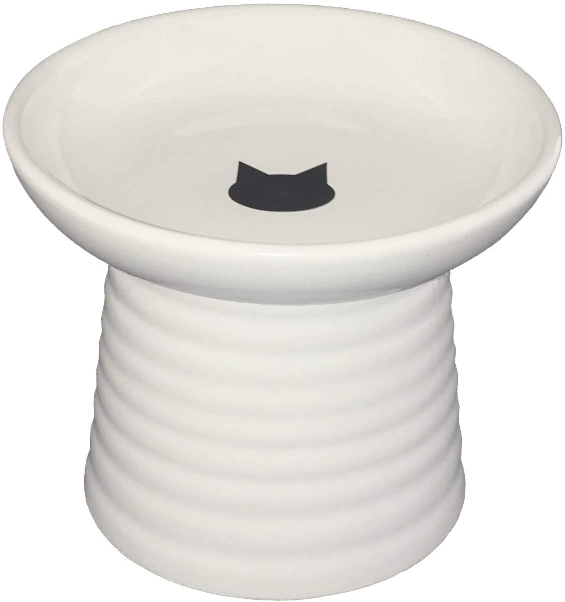 Raised Cat Food or Water Bowl - Vet Recommended Height (5) and Width (6), 1 inch deep, holds 2 cups food or 12 oz water