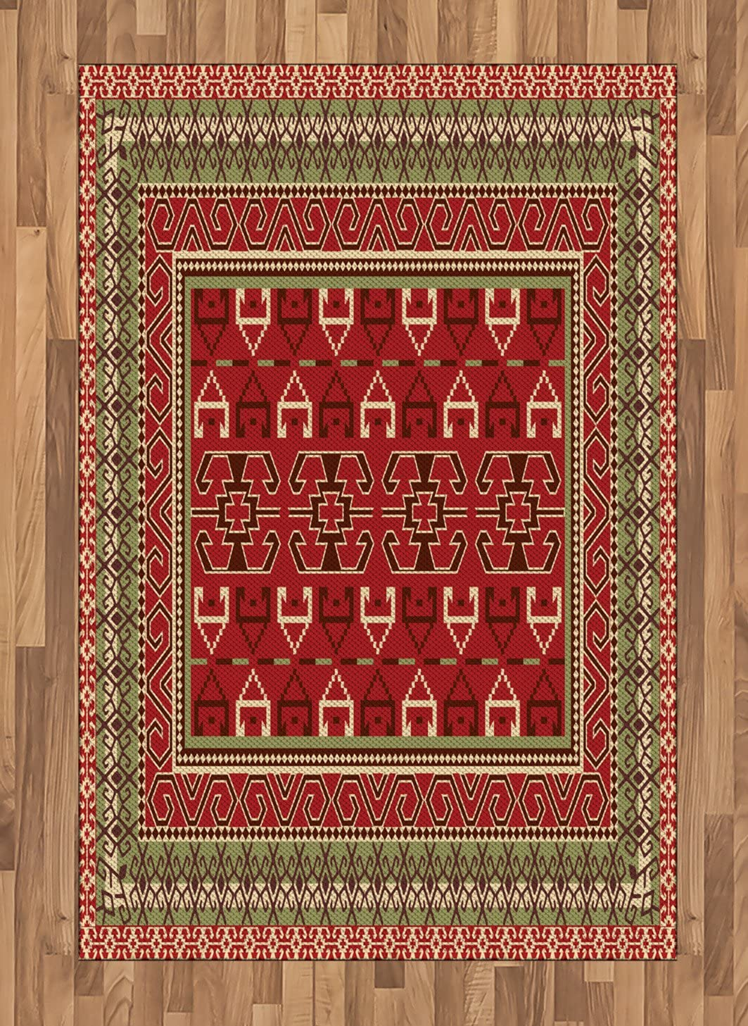 Ambesonne Turkish Pattern Area Rug, Rectangular Frames and Abstract Shapes with Ottoman Origins, Flat Woven Accent Rug for Living Room Bedroom Dining Room, 4' X 5.7', Ruby Pistachio Green Brown