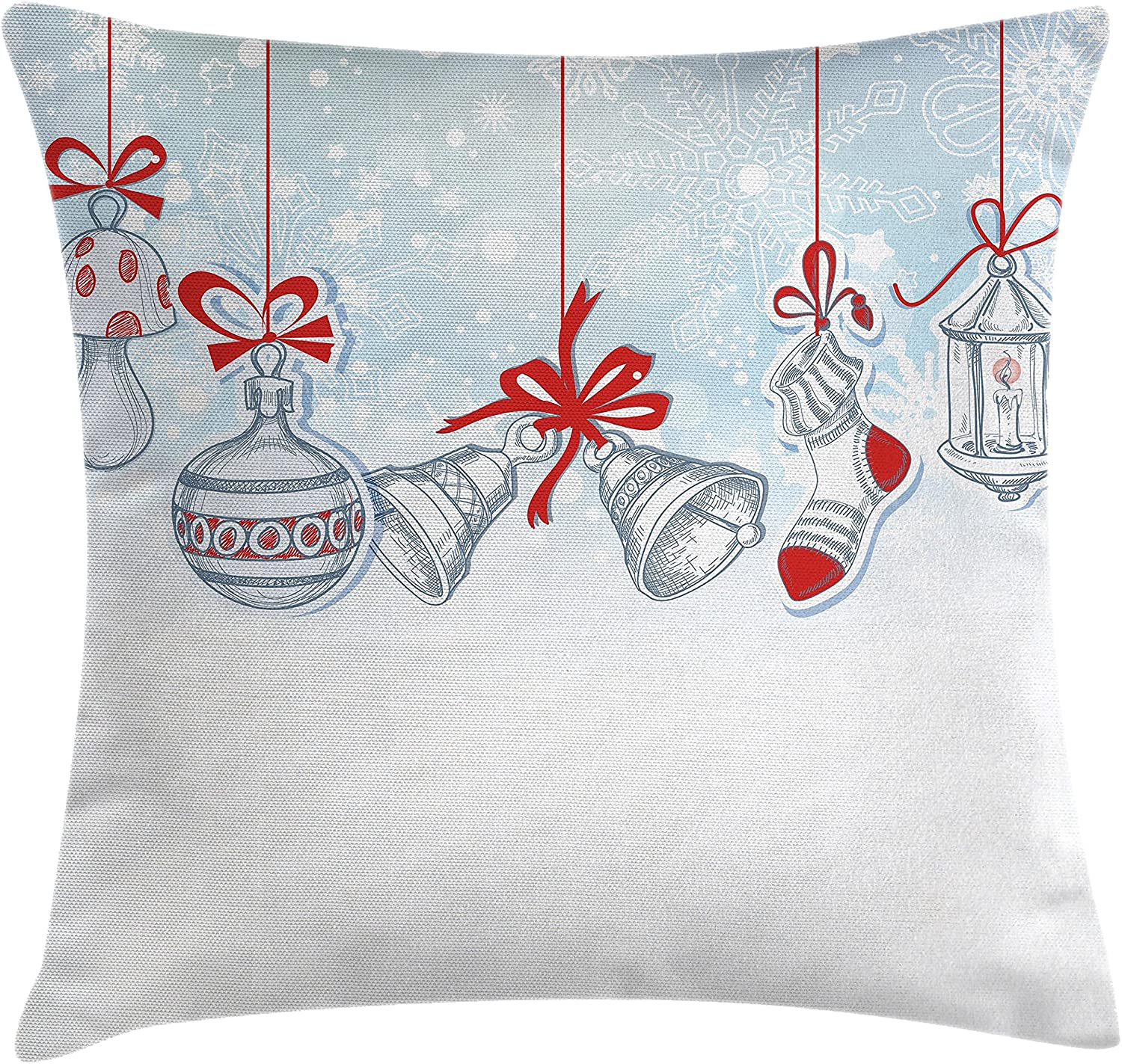 Ambesonne Christmas Throw Pillow Cushion Cover, Retro Style Famous Socks for Toy and Candy Bells and Snowflake Graphic, Decorative Square Accent Pillow Case, 20
