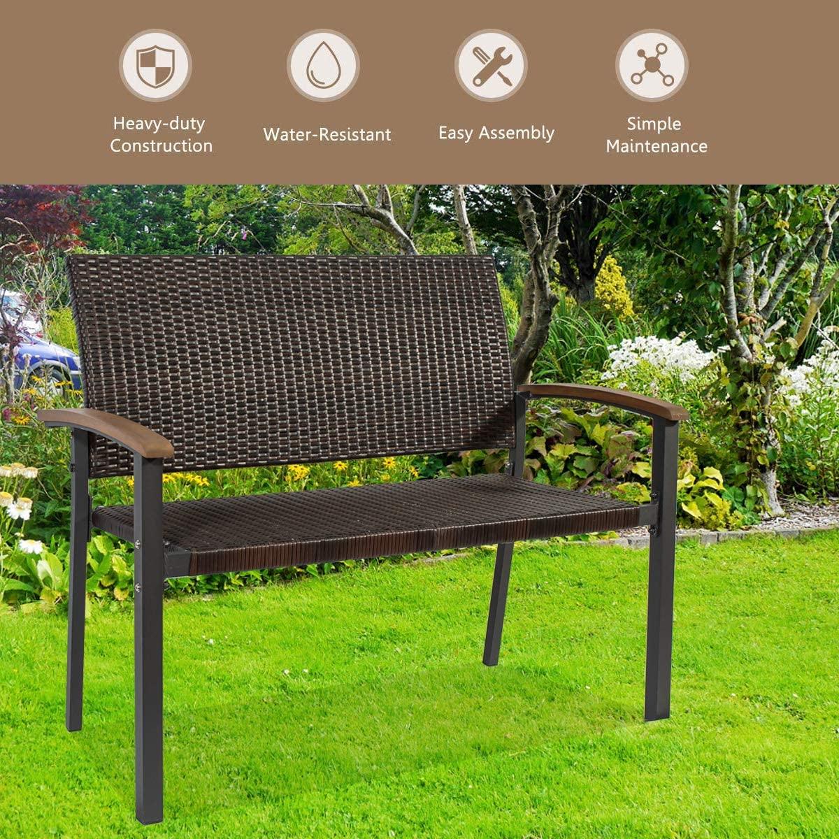 Patio Furniture SetRattan Bench Outdoor Wicker Rattan Chair Rattan Double Sets Bench for Pool Backyard Lawn