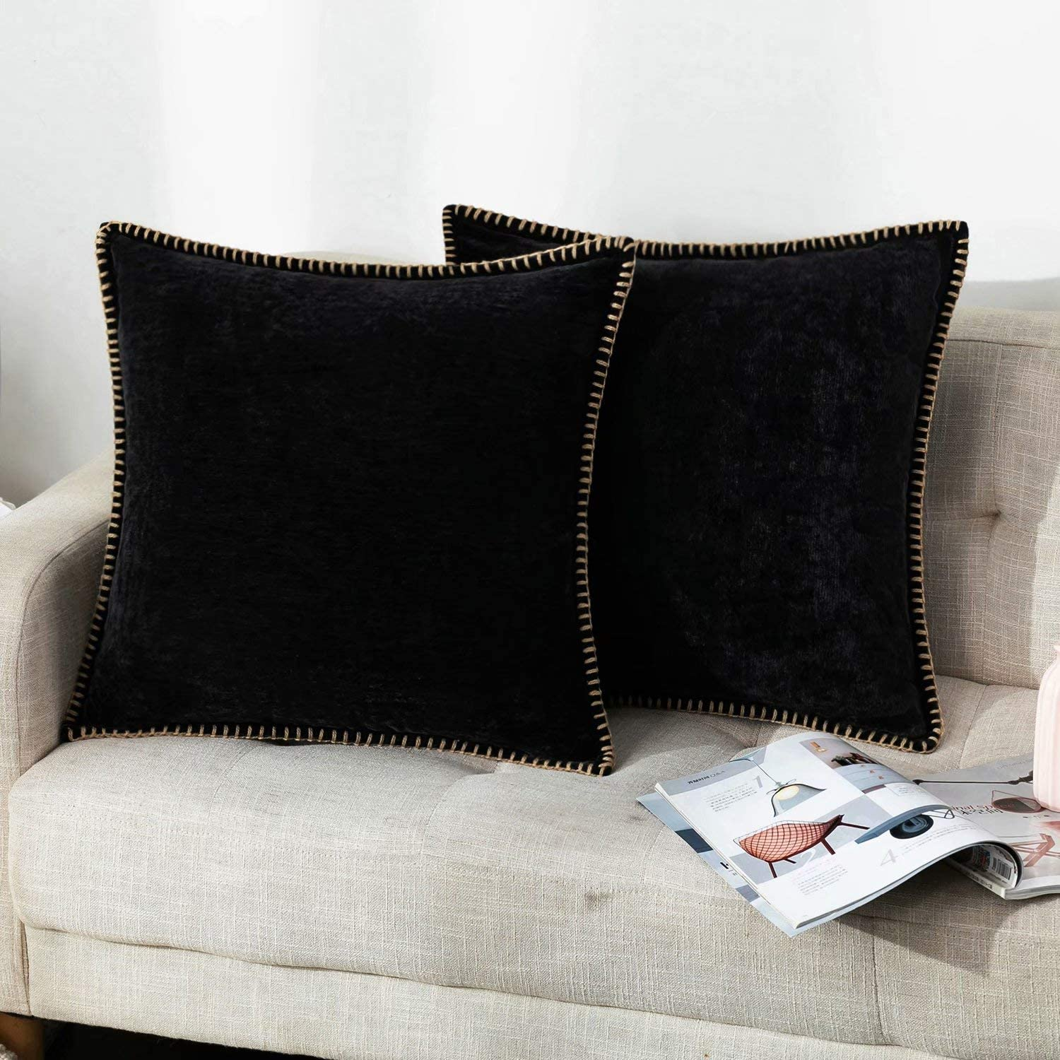 Farmhouse Decorative Throw Pillow Covers Set of 2 Trimmed Edge Velvet Cushion Cases for Couch Living Room, Black, 16x16 inches, Insert Not Included