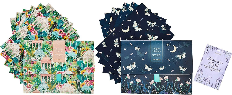12 Sheets of Scented Drawer Liners | Summer House, Night Flowers Fragrant Liner Set | Floral Lining Paper for Dresser, Vanity, Shelf, Nursery, Drawers, Cabinet | with Lavender Sachet