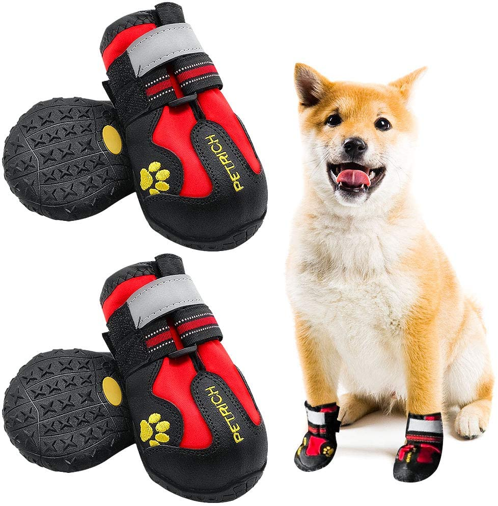 LLNstore Dog Shoes Dog Snow Boots Rain Boots for Medium Large Dogs with Adjustable Reflective Straps Anti-Slip Sole Windproof