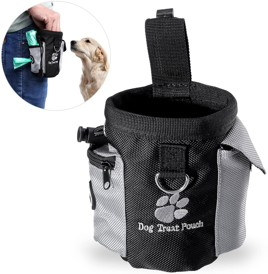 UEETEK Durable Pet Treat Bags, Hands Free Dogs Training Pouch, Ergonomic Design Treat Pouch and Training Waist Bag for Puppies Outdoor Training, 4.9 x 3.1 x 4.9 inch