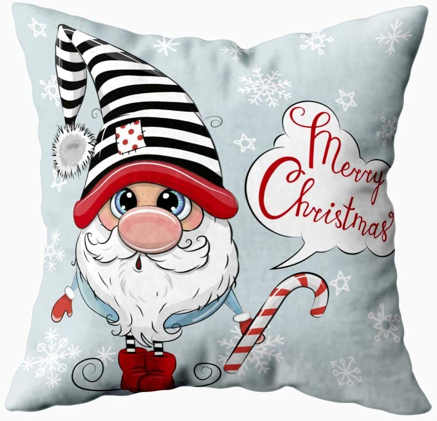 Musesh Cover Pillow,Print Pillow Covers Bed Rest Pillow Cover Greeting Christmas Card Cute Cartoon Gnome Blue Background 18X18Inch Square Pillow Cases for Couch Bed Sofa Bedroom Living Room