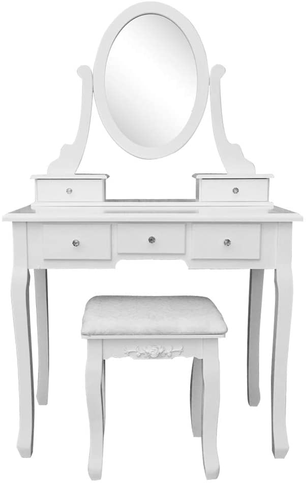 Onlyway Fashionable Foldable 3 Mirrors with 7 Drawers Dressing Table/Stool White