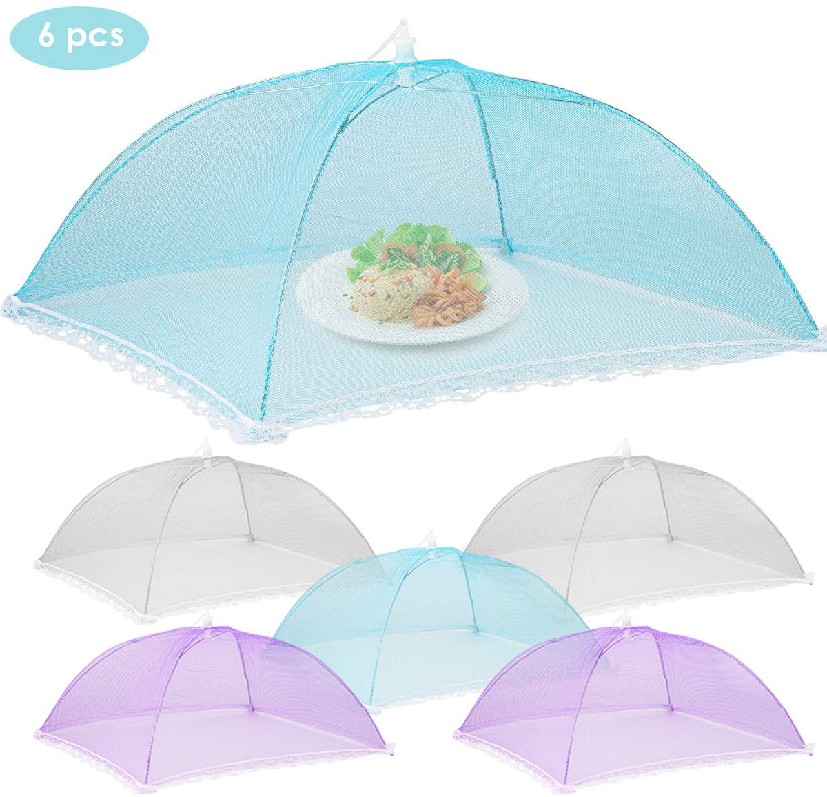 SOONHUA Pop-Up Mesh Food Covers, 6Pcs Mesh Food Covers 17in x 17in Collapsible Outdoor Camping Picnic Food Tent Plates Cover Keep Out Flies Bugs
