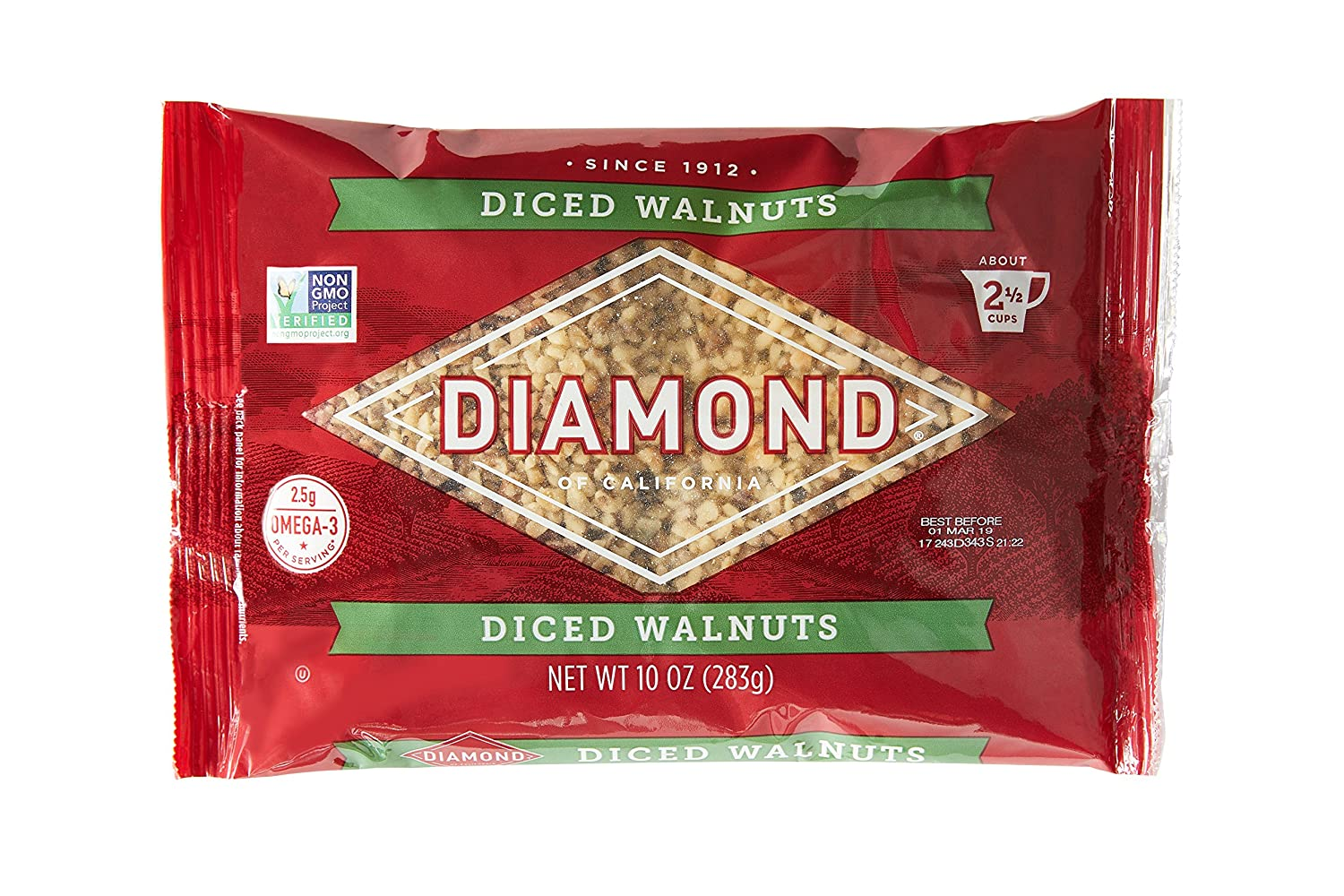Diamond of California, Finely Diced Walnuts, Non GMO, No Added Salt, 10 Ounce, Pack of 6