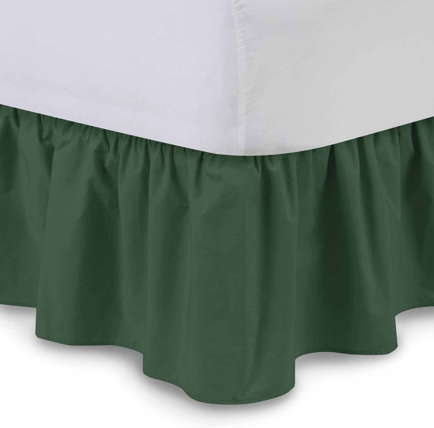 Ruffled Bed Skirt (Twin, Hunter) 21 Inch Drop Bedskirt with Platform, Wrinkle and Fade Resistant, Available in All Bed Sizes and 16 Colors - Blissford