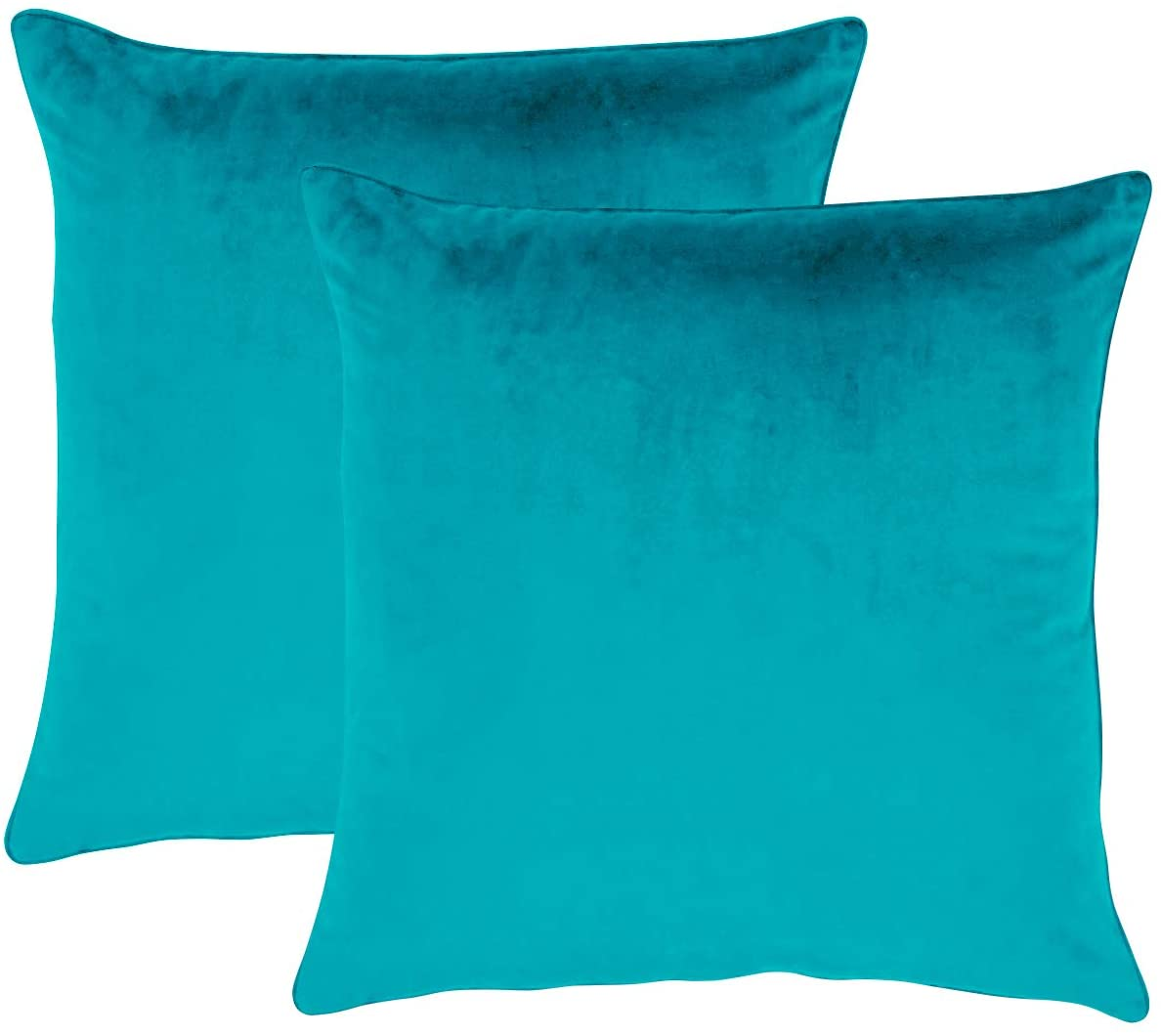 Essencea Velvet Throw Pillow/Cushion Covers Set of 2 Solid Color Decorative European Shams Soft Square Pillowcases with Hidden Zipper for Sofa   Bedroom   Living Room   Car (20 x 20 Inch, Turquoise)