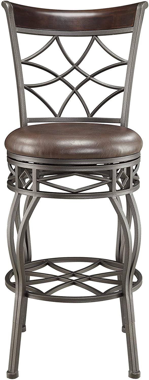 Right2Home Metal Cross Back 2-in-1 Brown Swivel bar stool