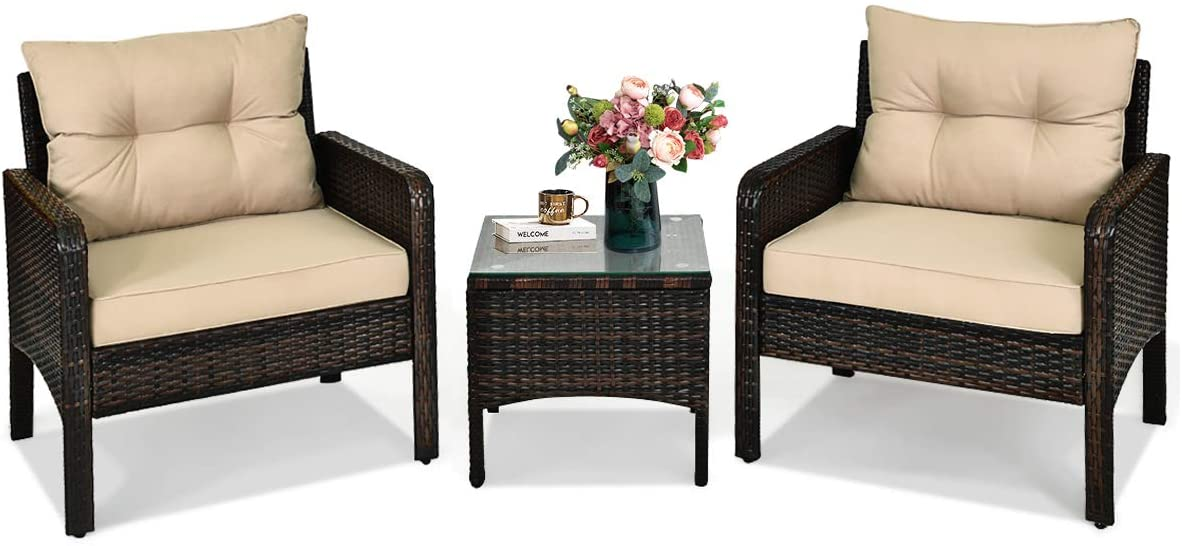 HAPPYGRILL 3-Pieces Patio Furniture Set Outdoor Rattan Wicker Coffee Table & Chairs Set with Seat Cushions Patio Conversation Set for Garden Balcony Backyard Poolside