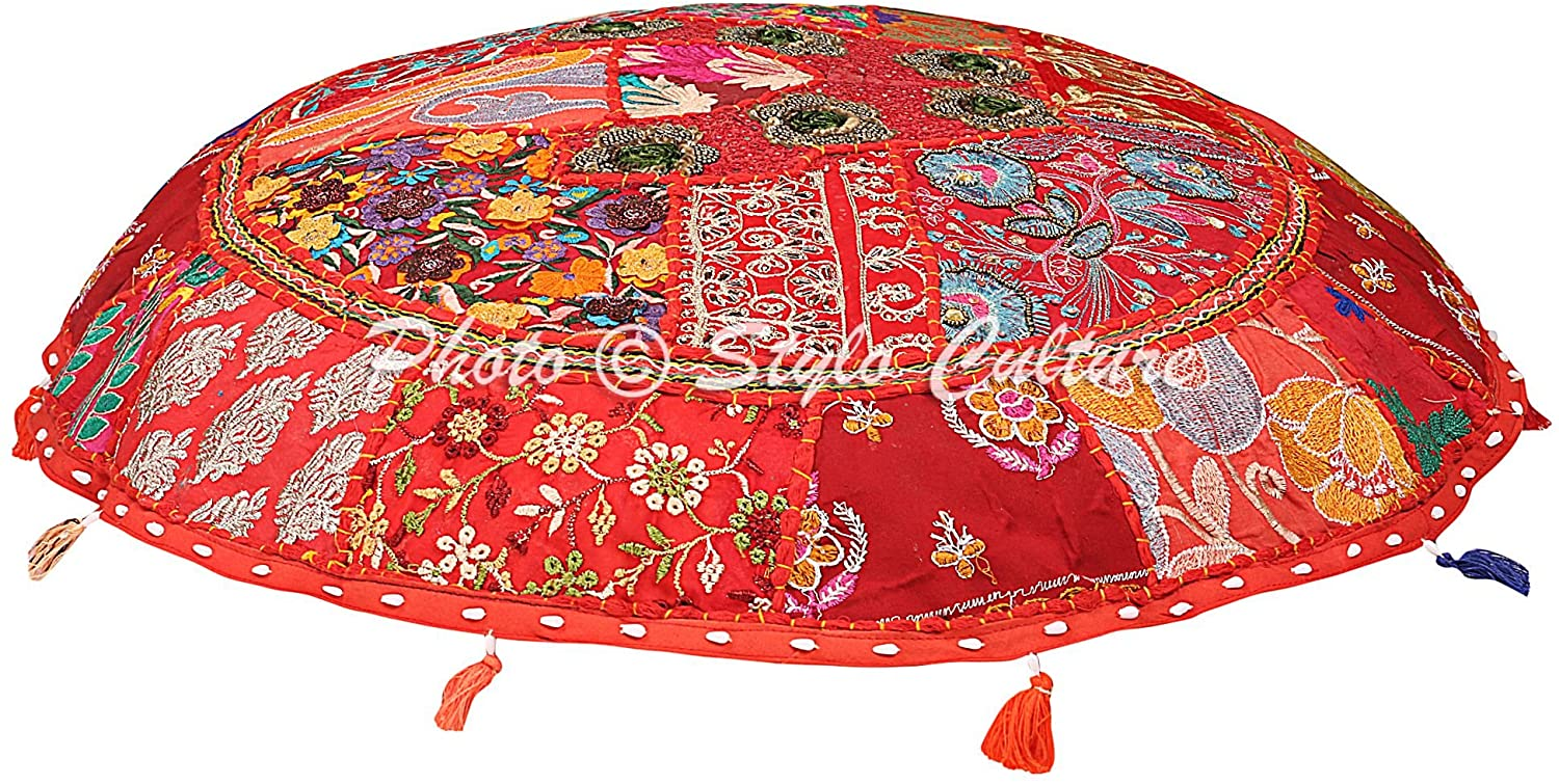Stylo Culture Ethnic Floor Cushion Seating Vintage Patchwork Pillow Cover Red Giant 40x40 Inch Decorative Round Decor Seating Tuffet Seat Pouf Cover Footstool Cotton Embroidered 1 Pc