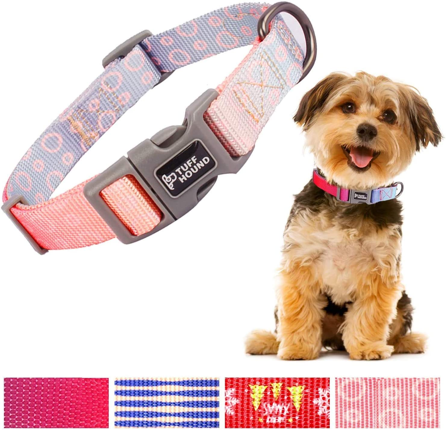 O'woda Adjustable Nylon Dog Collar, Gradient Color, Medium or Large Size, Personalized Collars or Seatbelts for Dogs and Cats Small Medium Large