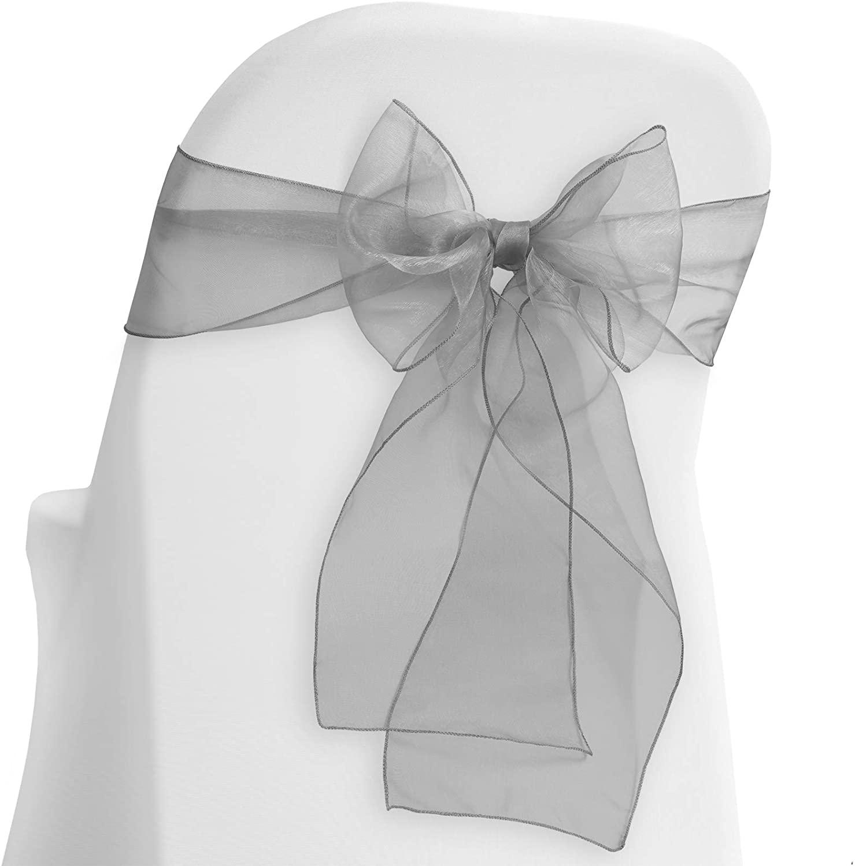 Lann's Linens - 10 Elegant Organza Wedding/Party Chair Cover Sashes/Bows - Ribbon Tie Back Sash - Silver