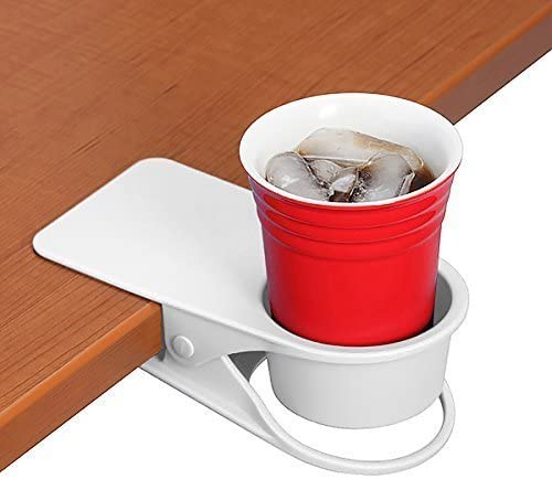 SERO Innovation Cup Clip Drink Holder - White - Snap to Tables, desks, Chairs, Shelves, counters. Keep Your Beverage, Smartphone or Other Small Item Secure and Out of The Way. 2 Pack