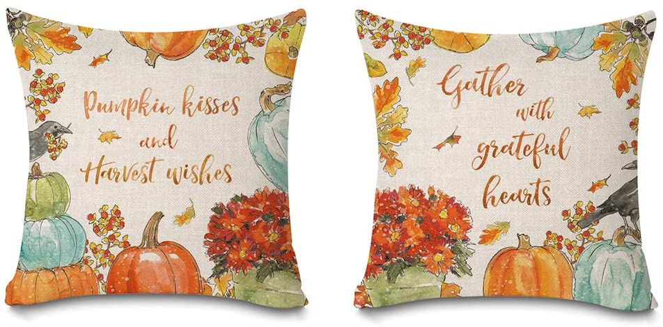Faromily Thanksgiving Pillow Covers Pumpkin Harvest Quotes Watercolor Maple Leaves Rustic Farmhouse Decor Cushion Covers Throw Pillow Cases Cotton Linen 18x18 inch Set of 2