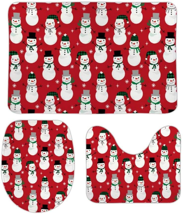 Christmas Snowman(2) Bathroom Rug Mats Set 3 Piece Anti-Skid Pads,Thick Quick-Drying Carpet,Pedestal Rug/U-Shaped Contour Mat/Toilet Lid Cover 16x24 in