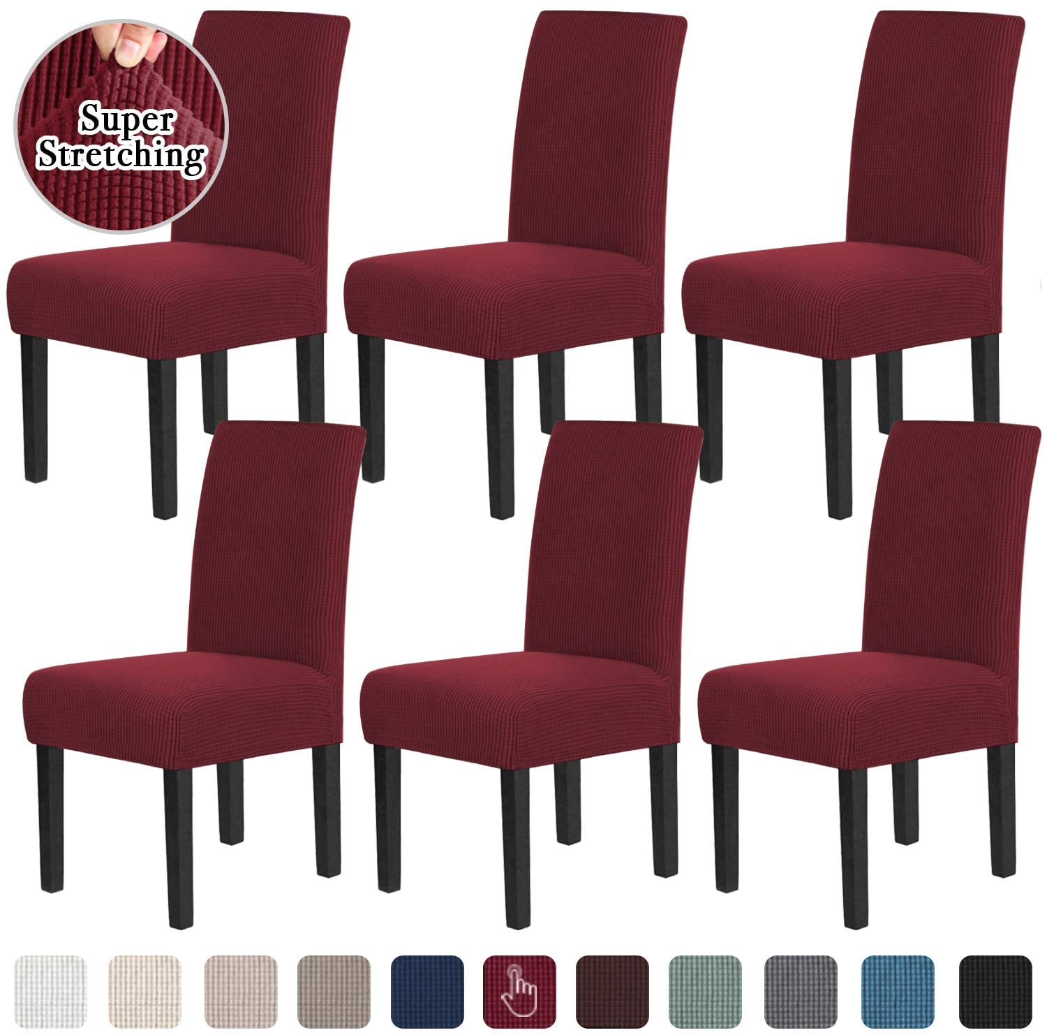 Chair Covers for Dining Room Stretch Dining Chair Covers Chair Cushions for Dining Chairs Super Fit Dining Chair Protector Removable Washable Chair Covers Set of 6, Wine